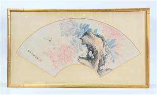 He Yong; Chinese Fan Painting Garden & Butterfly