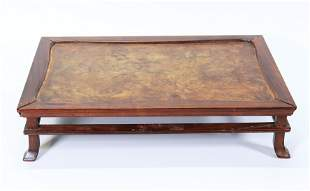 Japanese Hard Wood & Burl Wood Low Table