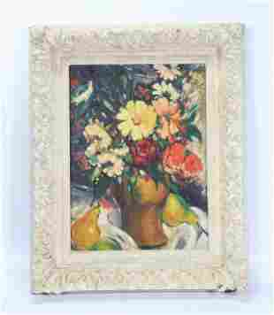 Swanson 1932 Modern Floral Still Life Oil on Board