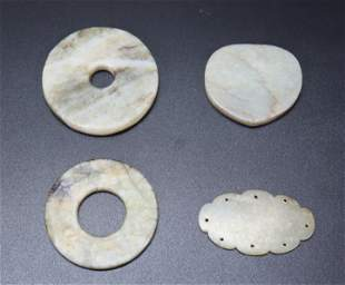 4 Chinese Ming or Earlier Celadon Jade Plaques