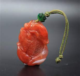 Chinese Qing Carved Carnelian Agate Toad Pendant