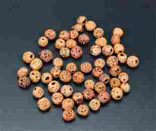 57 Chinese Qing Dynasty Carved Round Seed Beads