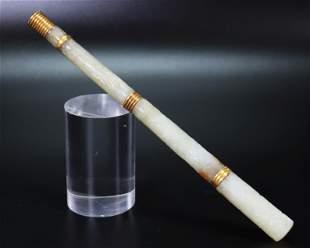 Chinese 18/19 C Mughal Fan /Cane Handle Jade & 18K