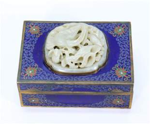 Chinese Ming Jade Goose-Hunt Plaque; Cloisonne Box