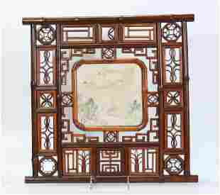 Chinese 19 C Bamboo Framed Porcelain Plaque