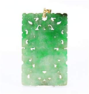 Chinese Natural Jadeite Abstinence Plaque 18K