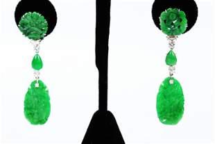 Chinese Natural Jadeite Diamond 14K Drop Earrings