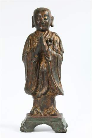 Chinese Ming Dynasty Bronze Buddhist Lohan Figure