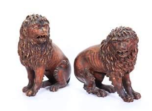 Pair Italian Renaissance 17 C Carved Wood Lions