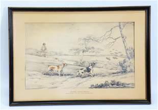 Henry Alken; Partridge Hunt Pencil Drawing & Color