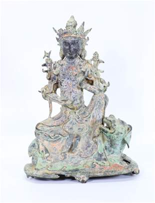 Chinese Bronze Seated Guanyin on Animal