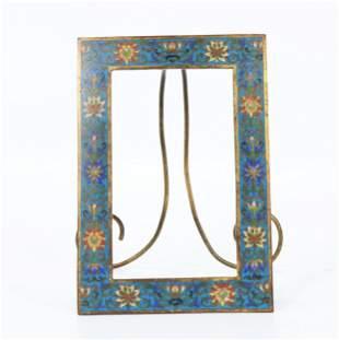 Fine Chinese Gilt Bronze & Cloisonne Easel Frame