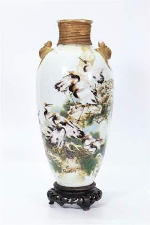 Chinese Artist Painted Crane Porcelain Vase