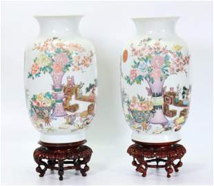 2 Chinese Famille Rose Enameled Porcelain Vases