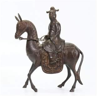 Chinese Ming Bronze Scholar Donkey Incense Burner