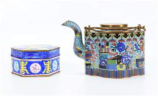 Chinese Gilt Bronze Cloisonne Teapot; Hexagon Box