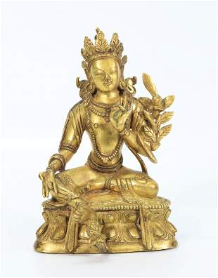 Tibetan Gilt Bronze Seated Green Tara Lotus Throne