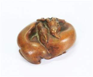 Chinese Solid Bronze Seated Deer Paper Weight