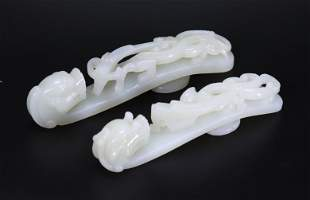 2 Chinese White Jade Double Dragon Buckles