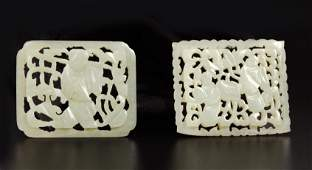 2 Chinese Qing Dynasty Pierced Carved Jade Plaques