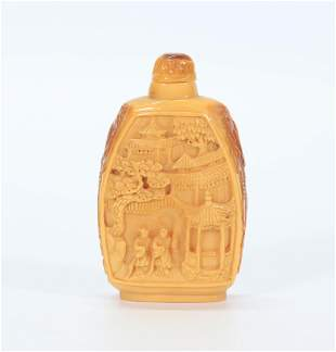 Chinese Carved Yellow Snuff Bottle