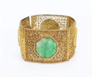 Chinese Qing Gilt-Bronze & Jadeite Link Bracelet