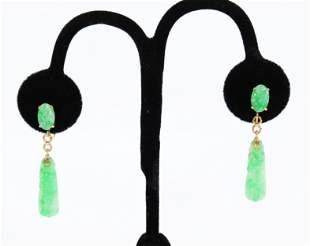 Pr Chinese Natural Jadeite Gourd Earrings 14K Gold
