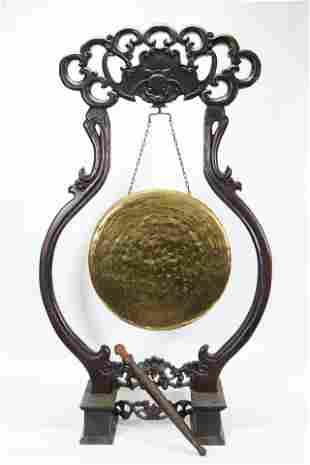 Large Chinese Bronze Gong Hard Wood Bat Stand