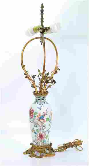 French Chinoiserie Porcelain Vase Bronze Lamp