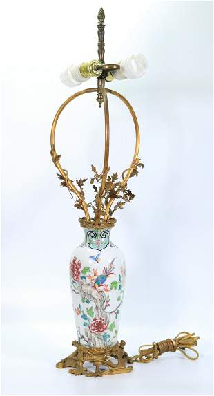 French Chinoiserie Porcelain Vase Bronze Lamp