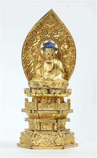 Japanese Gold Leaf Wood Throne Seated Buddha