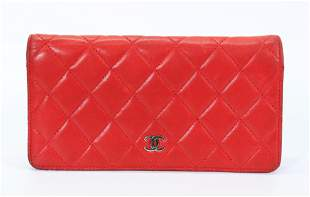Vintage Chanel Red Quilted Lambskin Wallet
