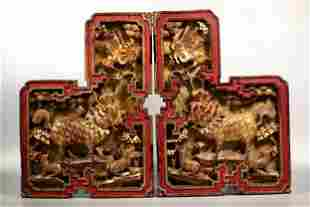 Mirror Pr Qing Chinese Gilt Wood Corner Brackets