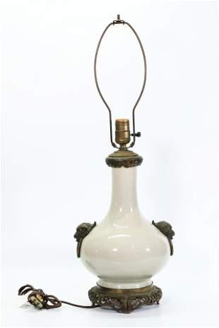 Chinese Crackle Glaze Porcelain Vase Lamp