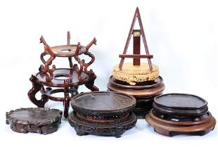 pe10 Large Chinese Hard Wood Stands, Mostly Rounds
