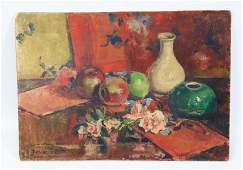 Oil on Board, Still Life & Chinese Porcelain 1949