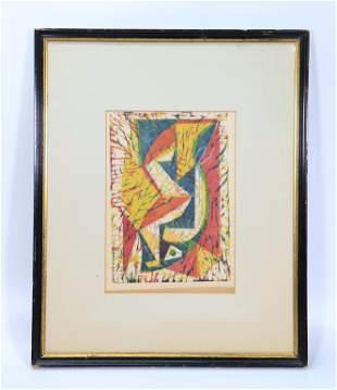 Abstract Woodblock Print