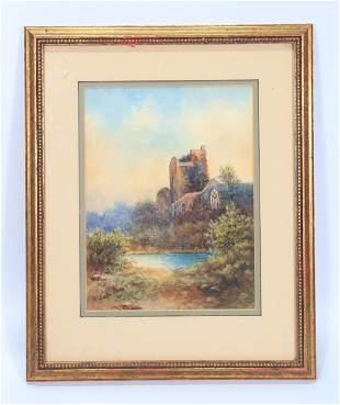 N du Bois; Watercolor Gothic Ruin by Stream
