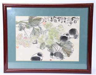 Xiao Ling; Chinese Ink Color Painting Chicks & Bug