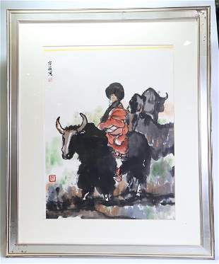Rong Er; Chinese Ink Color Painting, Lady & Yaks