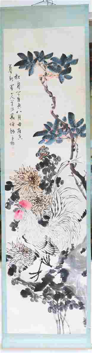 He MaoLin: Chinese Painting White Rooster Garden