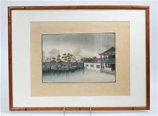 Chinese 19 C Pith Painting Woman Viewing Garden