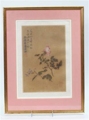 Chinese Qing Dynasty Painting on Silk of Rose