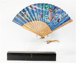 Chinese Qing Sandalwood Demi-Lune Fan Lacquer Box