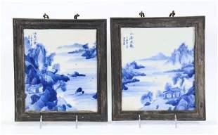 Pr Chinese Blue White Porcelain Landscape Plaques