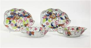 Pr Chinese Pseudo Tobacco Porcelain Sauces & Trays