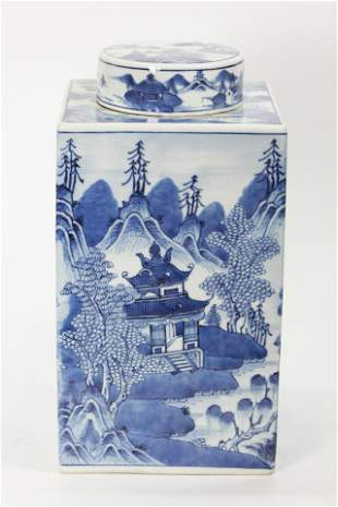 Chinese Blue & White Porcelain Square Storage Jar