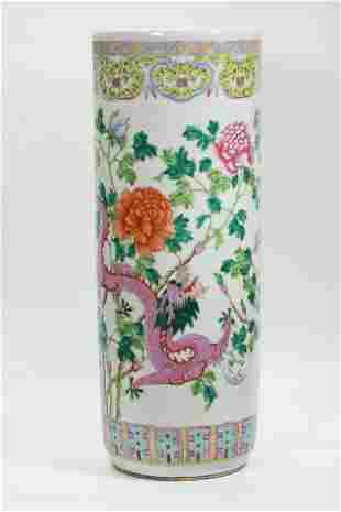 Chinese 19th C Famille Rose Dragon Umbrella Stand