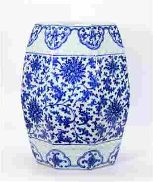 Chinese 19th C Blue White Porcelain Garden Seat
