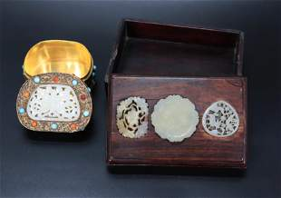4 Chinese Antique Jade Plaques 2 Boxes